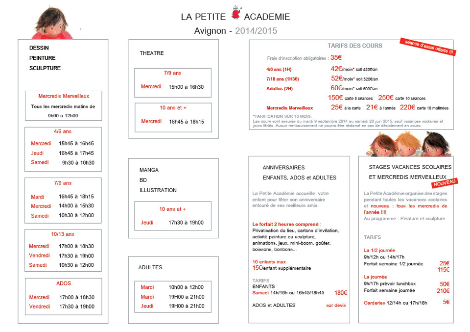 Horaires et tarifs PETITE ACADEMIE AVIGNON - 2014-2015