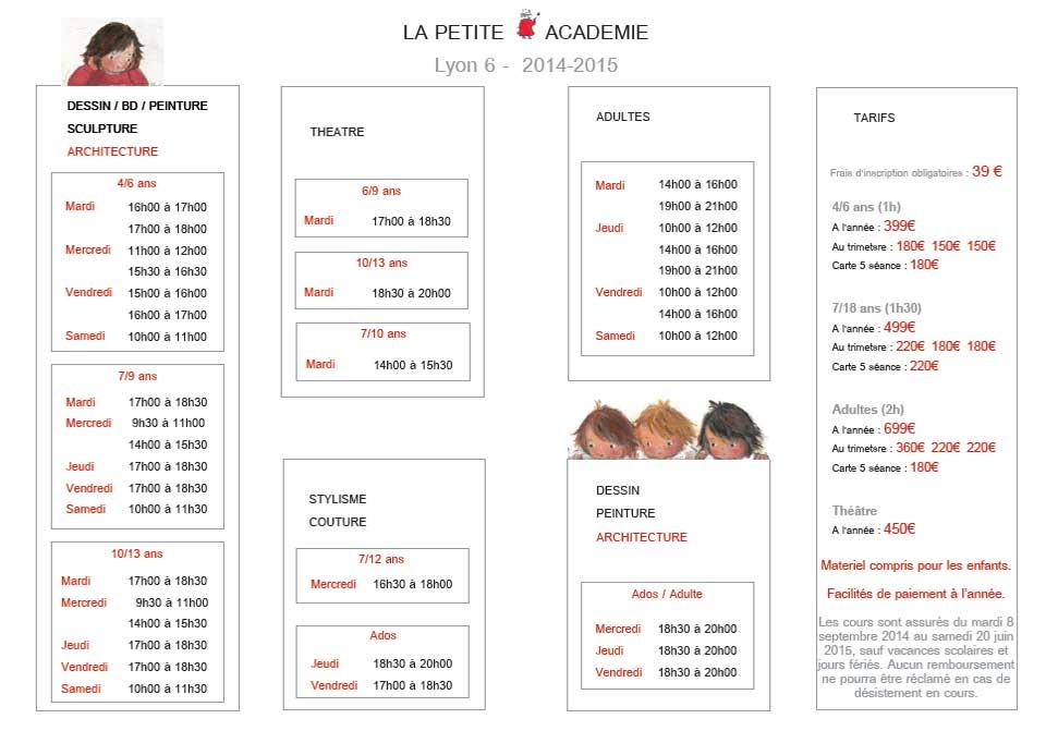 Horaires et tarifs PETITE ACADEMIE LYON 6 - 2014-2015