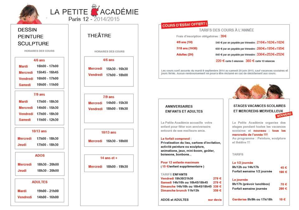 Horaires et tarifs PETITE ACADEMIE PARIS 12 - 2014-2015