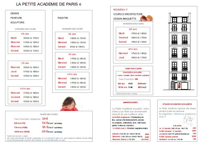 Horaires et tarifs PETITE ACADEMIE PARIS 6 - 2014-2015